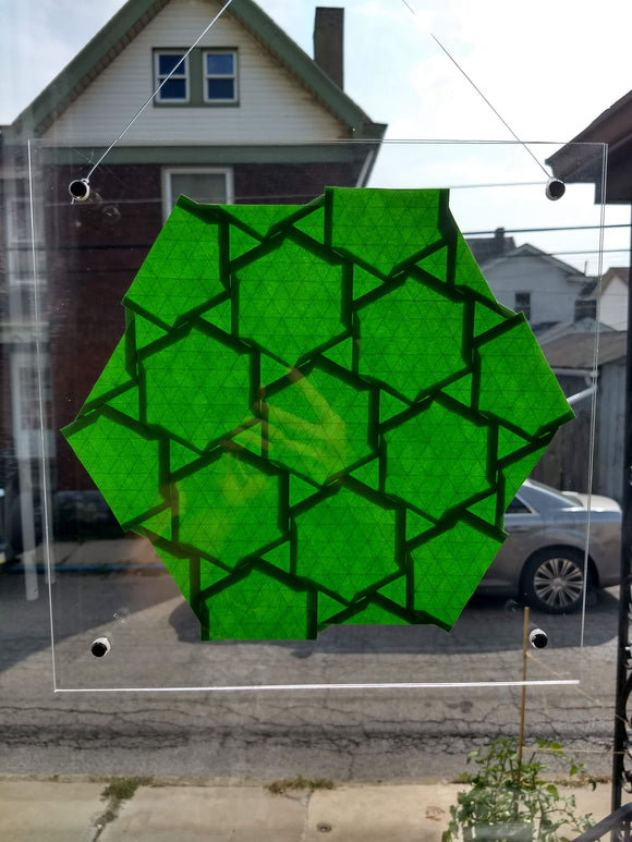 Half-adjacent hexagons 12-inch suncatcher in green