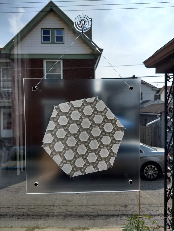 Wrapped Rhombi Suncatcher in White