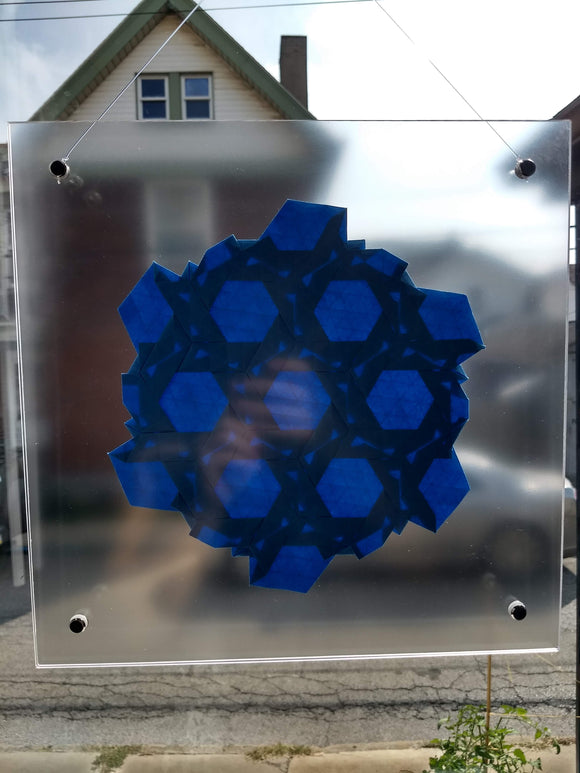 Double Rhombus Weave Suncatcher in Blue