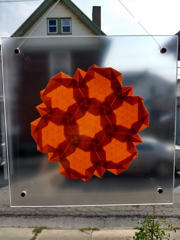 Closed Half-Adjacent Hexagons Suncatcher in Orange
