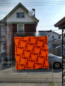 Compound Squares (Rotated) Suncatcher in Orange