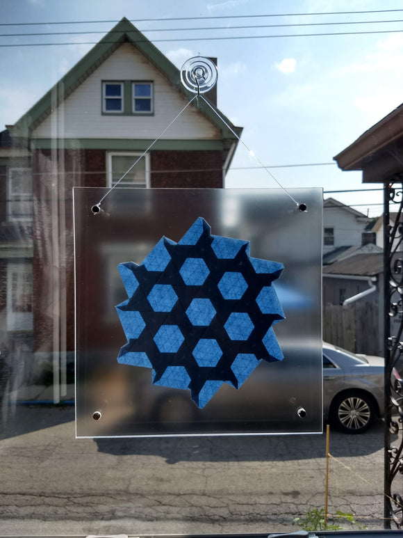 Half-Adjacent Triangles Suncatcher in Lt Blue