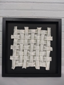 White Gapped Weave, framed in black
