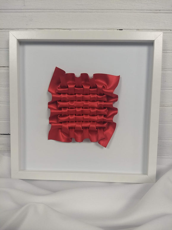 Red Closed Lattice Weave, framed in white
