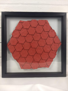 Red Half-adjacent Hexagons, floating mount