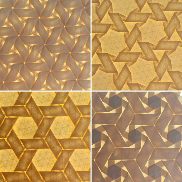 Double Rhombus origami tessellation series 4-pack