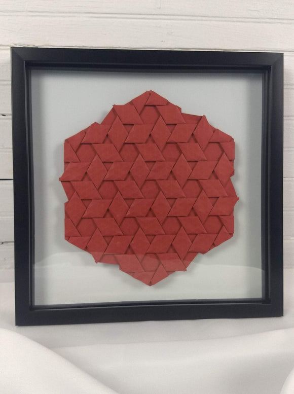 Half-adjacent Rhombi in red, floating mount