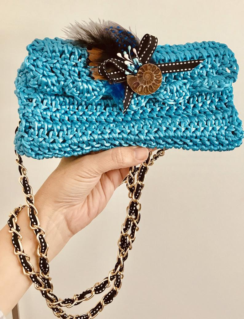 Crossbody Handbag Free UK Delivery- gift Crossbody bag crochet clutch partybag handmade handmade2shine evening purse feather ammonite fossil brooch
