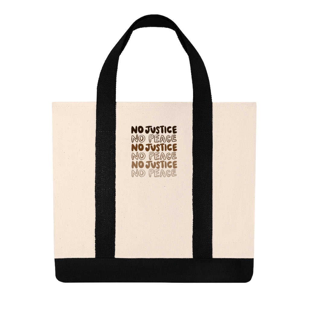 No Justice Embroidered Shopping Tote