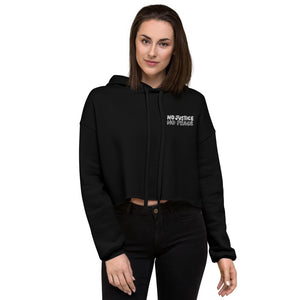 No Justice Embroidered Crop Hoodie