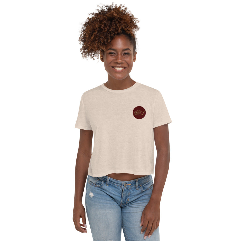Stand Women's Embroidered Crop Tee