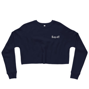 Log Off Embroidered Crop Sweatshirt