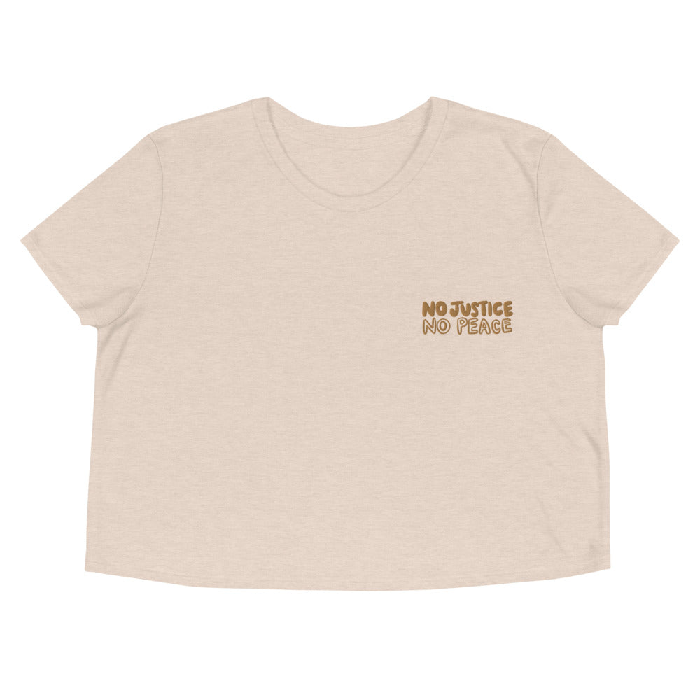 No Justice Crop Embroidered Tee