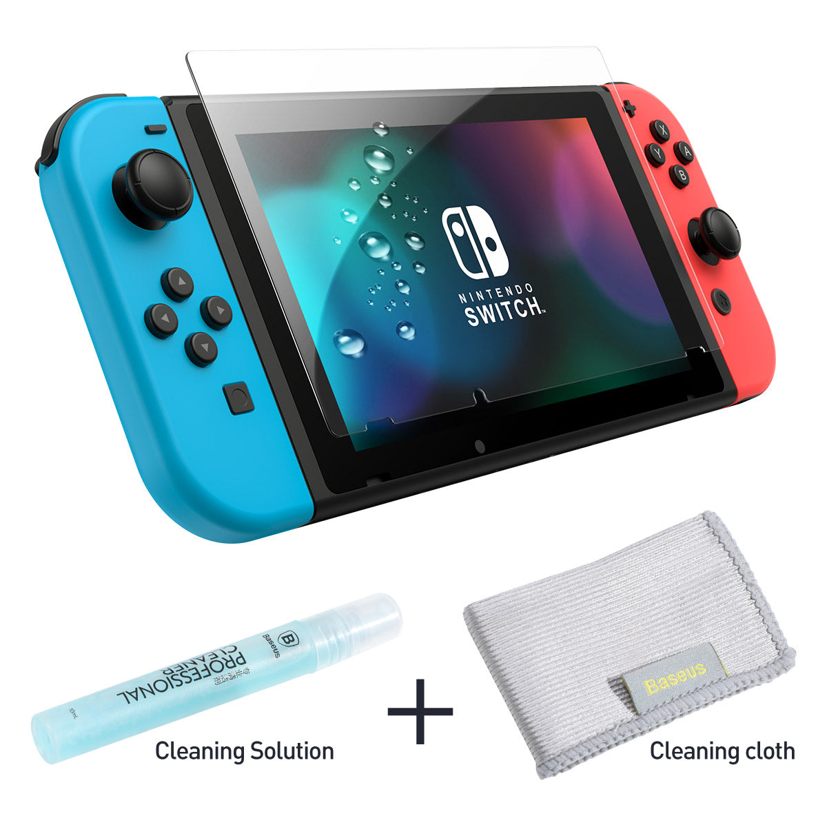 BASEUS 0.3mm All Glass Tempered Film (Bottled Cleaning Solution) for Nintendo Switch Transparent