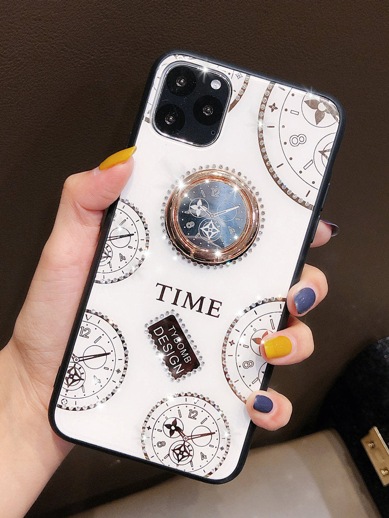 Time Clock Design with Magnetic Ring Holder for iPhone 11 Pro Max / 11 Pro / 11