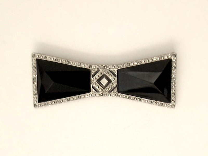Silver Plated Intricate Filigree Onyx Metal Brooch