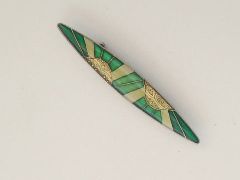 French Enamel Gold & Green Colours Brooch