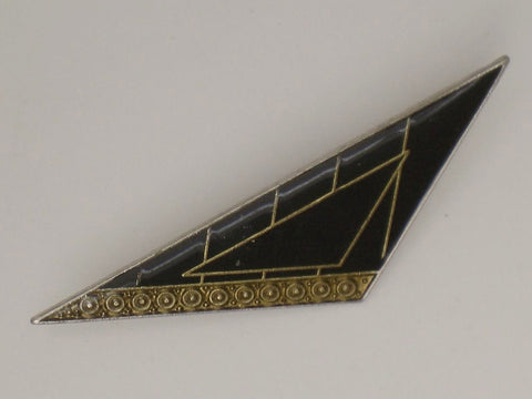 Art Deco geometric design Black & Gold Colour Brooch