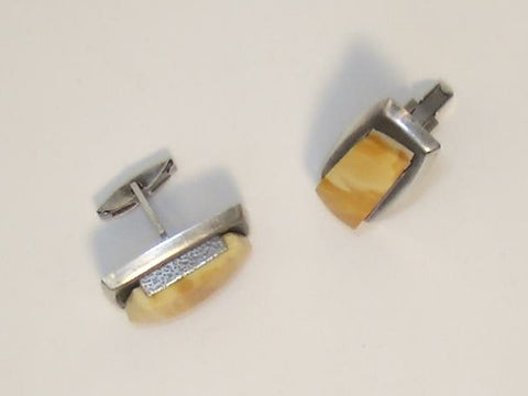 1930 Russian Sterling Silver 875 with Egg Yolk Bead (Baltic Amber) Cufflinks