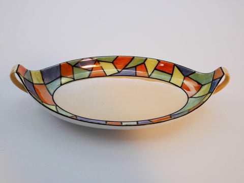 Geometric Colorful Tray.  Signed with R.S. Germany Trademark, used in the period  1910-1915