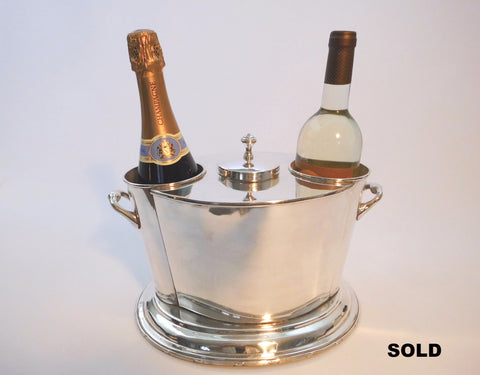 2-Bottle Wine & Champaign Cooler Chiller  Silver Plated  Hallmarked James Deakin & Sons Sheffield UK   1932-1939