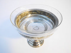 Coupe sur piédouche      Silver Plated Light Metal Footed Bowl with Etched Glass insert