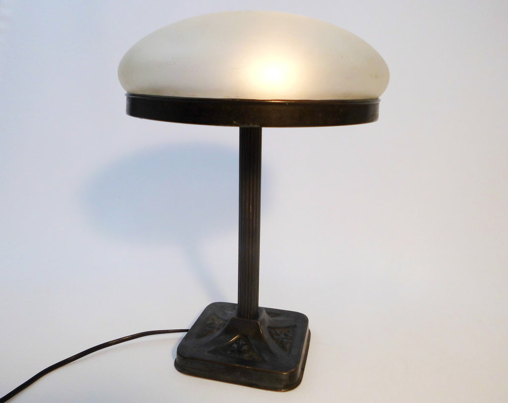 Bronze Brass  Pearl Matte Glass  Table Lamp 1930
