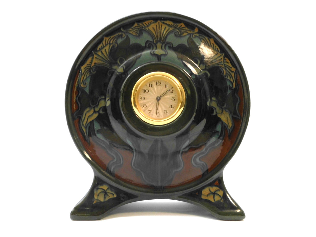 Beautiful GOUDA Ceramic design with Clock. Jugendstil decor created and painted by Johannes Hendricus Hartgring in 1899  Zuid Holland N.V. Plateelbakkerij.