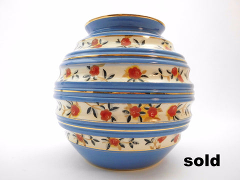 Beautiful BOCH Vase La Louvière, Belgium. Form F1289 designed by Master Designer Charles Catteau in 1934, Flower decor D5161 with Blue and Gold rings, created by Raymond Chevallier, Artistic Director between 1937 and 1954.