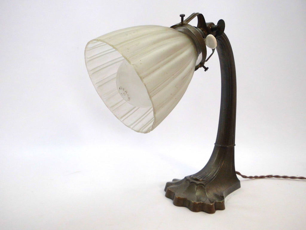 French Art Deco Table Lamp With White Opaque Glass Shade And Beautiful Artdecoshopping