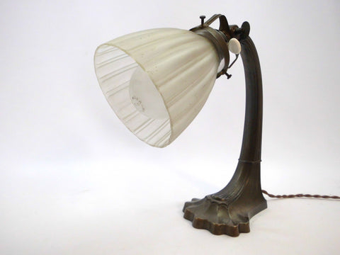 French Art Deco Table Lamp with white opaque glass shade and beautifully crafted bronze/brass Base.  France 1920s.