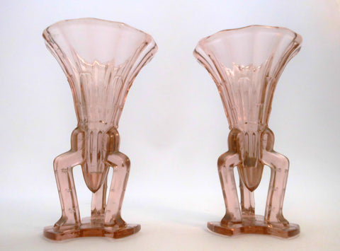 "Pair of Pink Pressed Glass Art Deco  "" Rocket "" Vases.  Bohemia Area 1930s.  17 cm  6.70""  high"