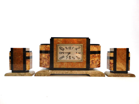 4 kinds of Marble Art Deco Mantel Clock. Eight-day clock, no Chime. Comes with a pair of matching Garnitures.  France Period 1930-1939