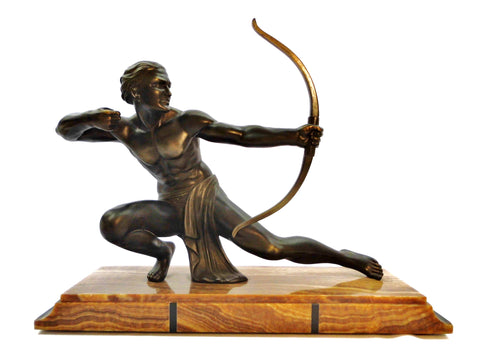 "Large Male Archer Sculpture mounted on a marble base measuring 60 cm  23.62"" long. Spelter with a beautiful bronze patina. Signed SALVATORE MELANI  1920-1930's."