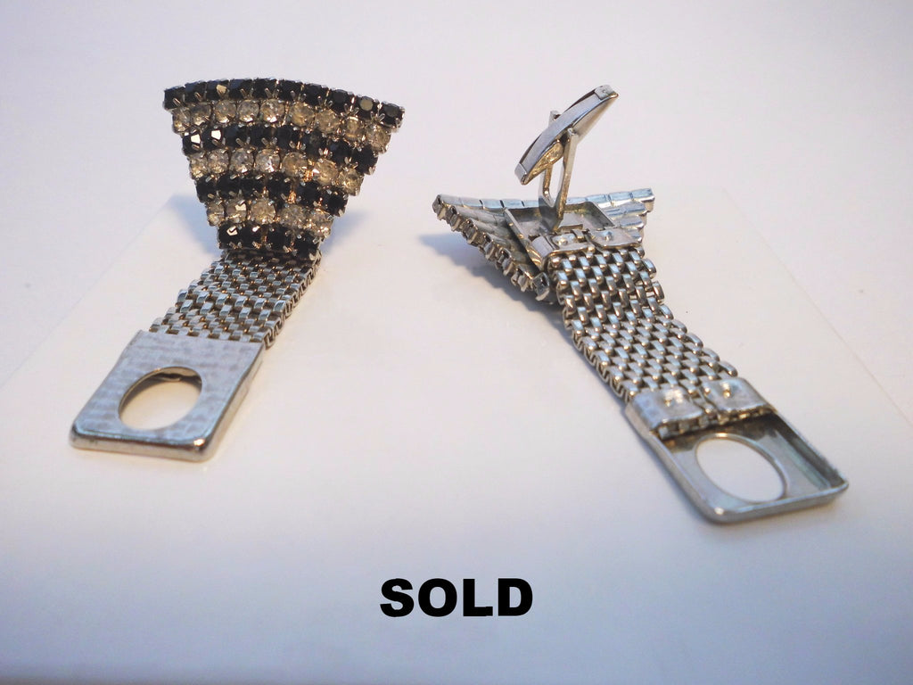 Cufflink Set  SilverTone Art Deco Clear and Black Stone Mesh Fan
