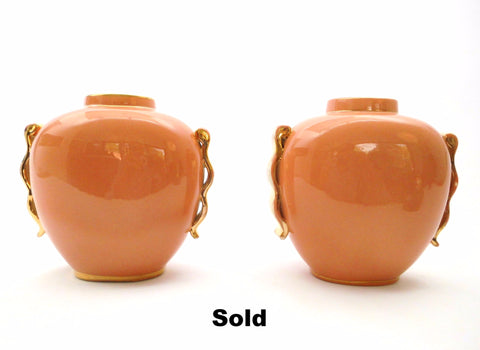 Pair of Oval Vases Boch Frères La Louvière Belgium. Form 1291/0 designed by Master Designer Charles Catteau 1934. Monochrome Peach execution with Gold-tone Ornaments. Priced per Pair.