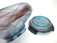 Art Deco Centrepiece in Blue and Purple Cloud Pressed Glass, Polished. Seperate Bowl and Plinth. 1920s George Davidson & Co, England.