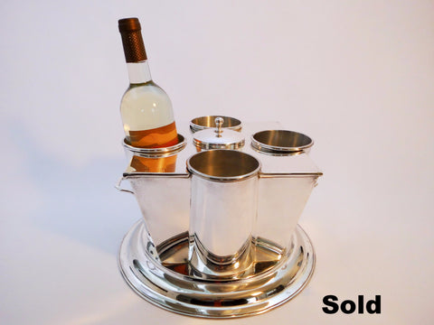 4-Wine Bottle Cooler Chiller  Silver Plated