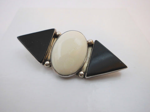 Sterling Silver 925, Bone, Black Onyx Pin Brooch