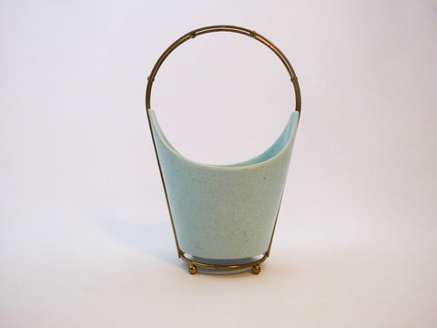 Turquoise Speckeled Vase with Brass Stand