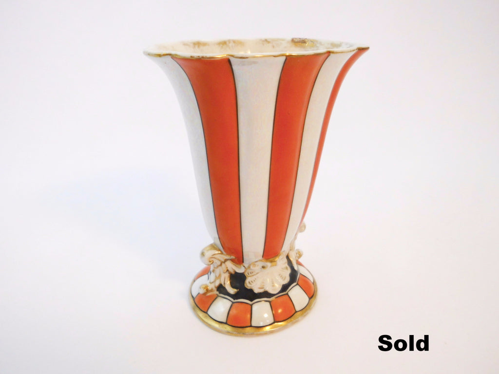 Noritake Handpainted Orange White Stripes Vase  1930s