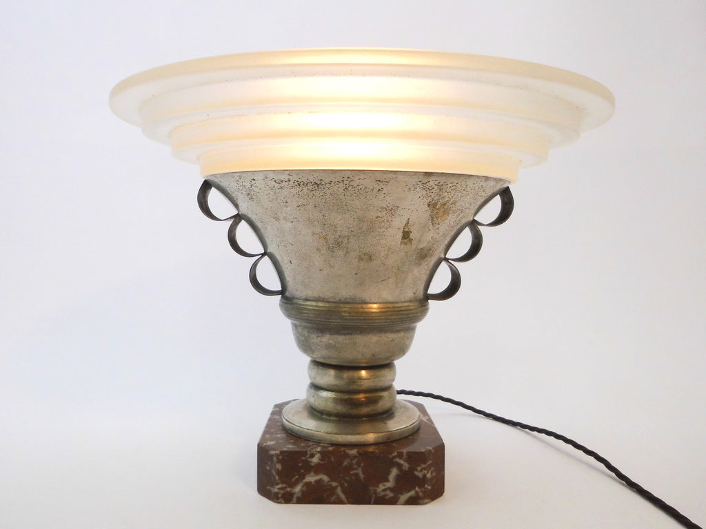 Art Deco Uplighter with Stepped Opaque Glass Shade  1920's