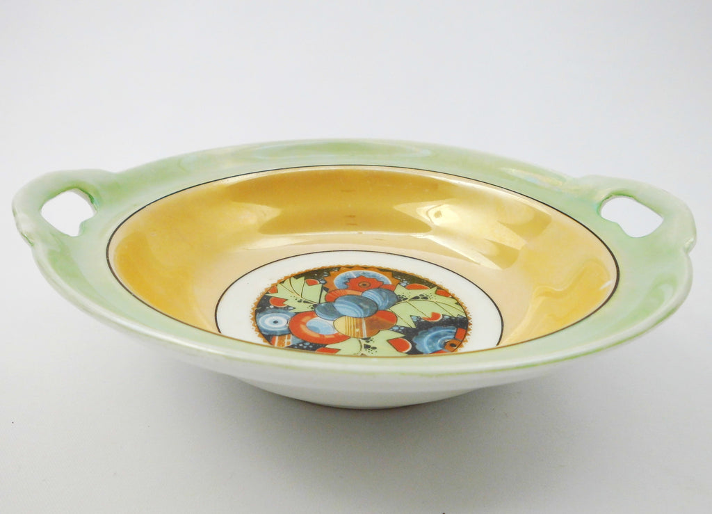 Lusterware Bowl CELEBRATE  Made in Germany for Borgfeldt & Co. trading Company of New York.   1930s.