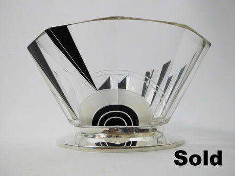 Centerpiece Karl Palda    Black Enamel Etched Crystal bowl with Sterling Silver Base  1930's