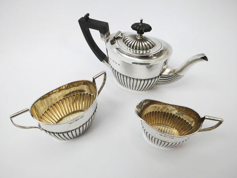 Three Piece Edwardian Bachelor Tea Set. Sterling Silver with Silver-Gilt Interiors. James Woods & Sons Birmingham 1901.