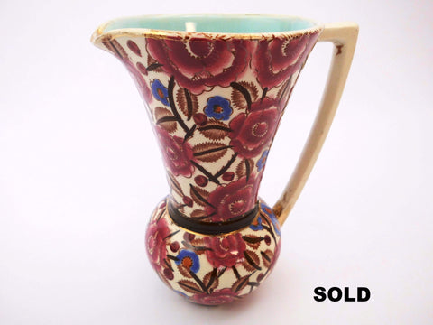 Hand Painted Pitcher with flower decor and light blue interior created by Raymond Chevallier. BOCH Frères La Louvière  Belgium  End 1930s