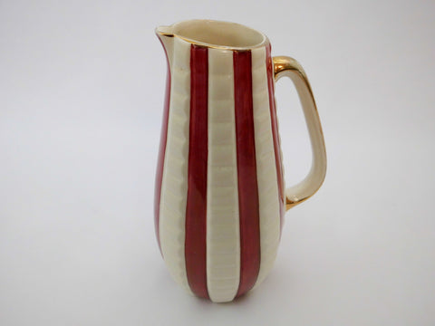 Burgundy & Cream Stripes with Gold Rim Pitcher/Vase H.J.WOOD England
