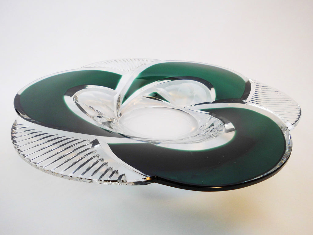 "Coupe ""Cyclope""  Val St. Lambert Belgium 1958. Stunning Crystal Glass Centerpiece. Dark Green, hand-cut-to-clear.   Numbered & signed  8/100  Charles Graffart, Master designer and outstanding artist."