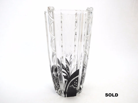 Unique Shaped Glass Vase with Black Enamel Modernist and Engraved Flower Decor. Haida Bohemia 1930's