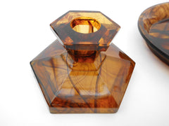 Art Deco Vanity Dressing Table Set in Amber Cloud Pressed Glass, Polished outside, matt inside. Seven Pieces, 1929 George Davidson & Co, England.